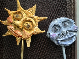 """Moon and sun dremeled foam for """"rustic kid-made"""" revels play"""